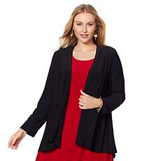 Nina Leonard Miracle Matte Jersey Cardigan with Godet Back
