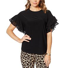Nina Leonard Miracle Matte Jersey Pleated Sleeve Top