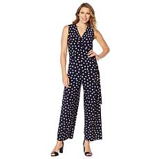 Nina Leonard Miracle Matte Jersey Printed Wrap Jumpsuit