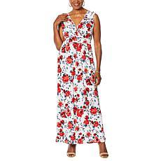 Nina Leonard Miracle Matte Jersey Ruffle-Neck Maxi Dress