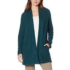 Nina Leonard Novelty Knit Cardigan with Shirred Neck