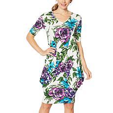 Nina Leonard Printed 2-in-1 Style Tunic Dress