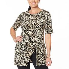 Nina Leonard Printed Miracle Matte Jersey Tunic with Slit