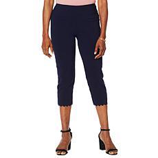 Nina Leonard Pull-On Scallop-Hem Cropped Pant