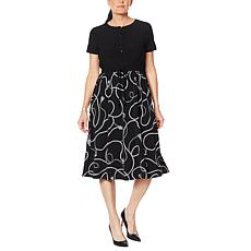 Nina Leonard Short-Sleeve Midi Dress with Drawstring Waist