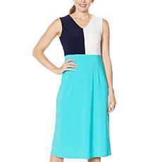 Nina Leonard Sleeveless Colorblock Midi Dress