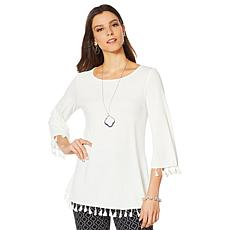 Nina Leonard Stretch Crepe Tunic with Tassel Trim