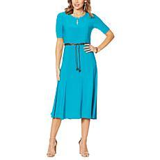 Nina Leonard Sylvia Midi Dress with Removable Belt