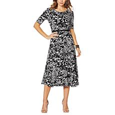 Nina Leonard Sylvia Midi Dress with Removable Belt
