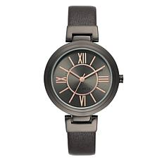 Nine West Women's Rosetone and Black Faux Leather Watch