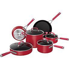 Ninja Foodi NeverStick Vivid 10-Piece Non-Stick Cookware Set, Red