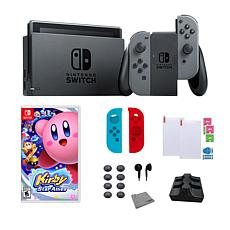 "Nintendo Gray Switch Bundle w/Accessory Set & ""Kirby Star Allies"" Game"