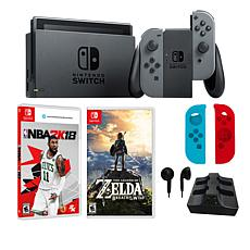 "Nintendo Gray Switch Bundle with ""Legend of Zelda"" & ""NBA 2K18"" Games"