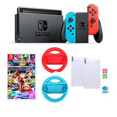 "Nintendo Neon Switch Bundle w/2 Joy-Con Wheels & ""Mario Kart 8 Deluxe"""