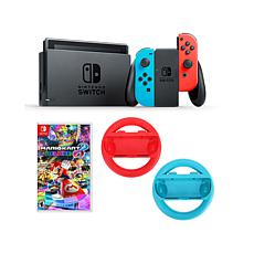 Nintendo Neon Switch w/2 Joy-Con Wheels & Mario Kart 8