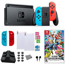 "Nintendo Switch Bundle with ""Super Smash Bros."" Game and Accessories"