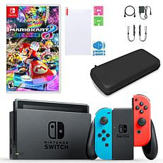 Nintendo Switch in Neon with Mario Kart and Accessories