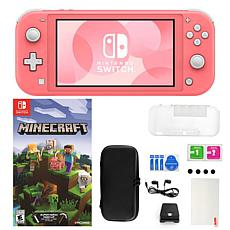 Nintendo Switch Lite in Coral with Minecraft Game and Accessories