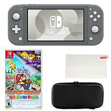 Nintendo Switch Lite in Gray with Paper Mario Game and Accessories