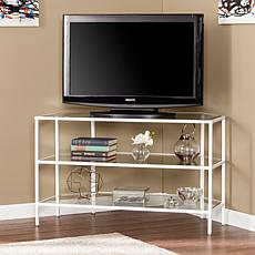 Noel Metal/Glass Corner-Optional TV Stand- White