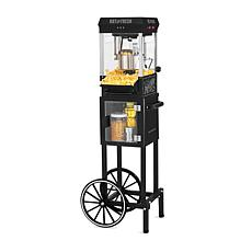 Nostalgia 2.5 oz. Popcorn Cart with 5 qt. Popcorn Bowl in Black
