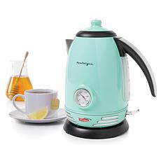 Nostalgia Retro 1.7L Electric Water Kettle with Strix Thermostat, Aqua