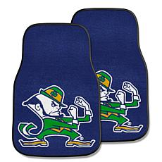Notre Dame Leprechaun Carpet Car Mat Set - 2 Pieces