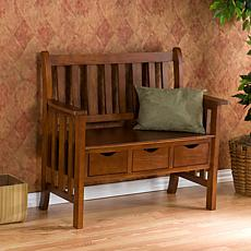 Oak Country Bench with 3 Drawers