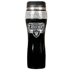 Oakland Raiders Black Stainless Steel Bling Travel Tumb