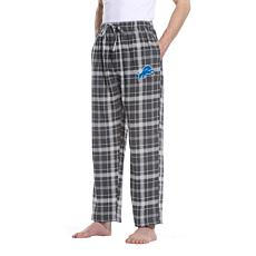 Officially Licensed Men's Plaid Flannel Pant by Concept Sports - Lions