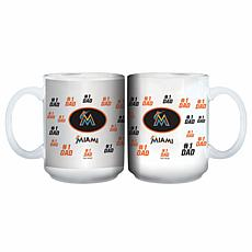 "Officially Licensed MLB ""#1 Dad"" 15 oz. White Mug - Marlins"