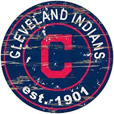 """Officially Licensed MLB 24"""" Established Date Sign - Cleveland Indians"""