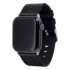 Officially Licensed MLB Apple Watch Black Leather Band 38/40mm-Detroit