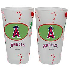 Officially Licensed MLB Christmas Day 16 oz. Pint Glass 2pk - Angels