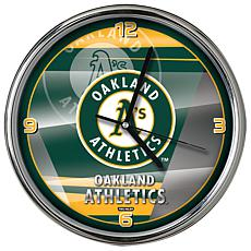 Officially Licensed MLB Shadow Chrome Clock - Athletics