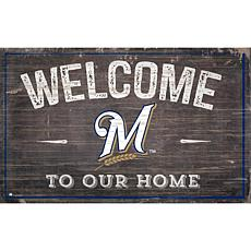 Officially Licensed MLB Welcome to our Home Sign - Milwaukee Brewers