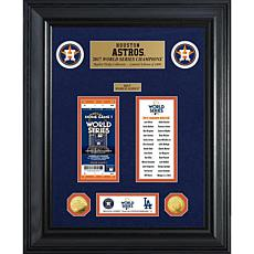 Officially Licensed MLB WS Gold Coin & Ticket Collection - Houston