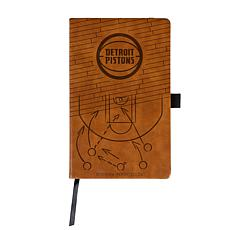 Officially Licensed NBA Engraved Brown Notebook - Detroit Pistons
