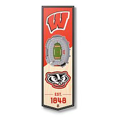 """Officially Licensed NCAA 6"""" x 19"""" 3D Stadium Banner - Badgers"""