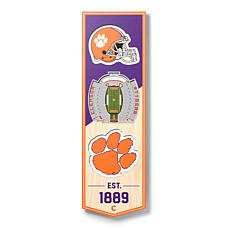 """Officially Licensed NCAA 6"""" x 19"""" 3D Stadium Banner - Clemson Tigers"""