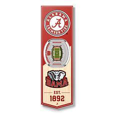 "Officially Licensed NCAA 6"" x 19"" 3D Stadium Banner - Crimson Tide"