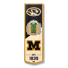 """Officially Licensed NCAA 6"""" x 19"""" 3D Stadium Banner - Missouri Tigers"""