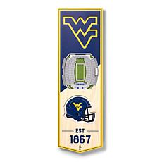 """Officially Licensed NCAA 6"""" x 19"""" 3D Stadium Banner - West Virginia FB"""
