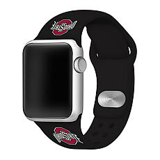Officially Licensed NCAA Black 42/44MM Apple Watch Band- OH Buckeyes