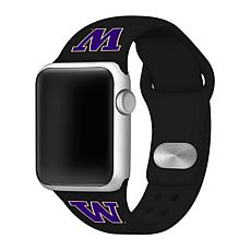 Officially Licensed NCAA Black 42/44MM Apple Watch Band - WA Huskies