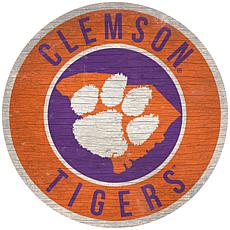 """Officially Licensed NCAA Clemson 12"""" Wood Circle"""