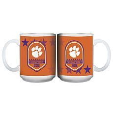 Officially Licensed NCAA Clemson 2018 Champs 15oz. Full Wrap Mug-2pk