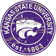 Officially Licensed NCAA  Distressed Round Sign - Kansas State