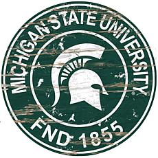 Officially Licensed NCAA  Distressed Round Sign - Michigan State