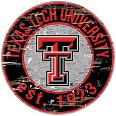 Officially Licensed NCAA  Distressed Round Sign - Texas Tech Un.